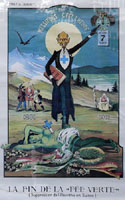 Poster critical of the ban on   absinthe in Switzerland by Albert Gantner, 1910