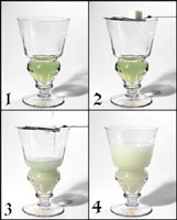 A sequence of four images   showing the traditional way to prepare absinthe.